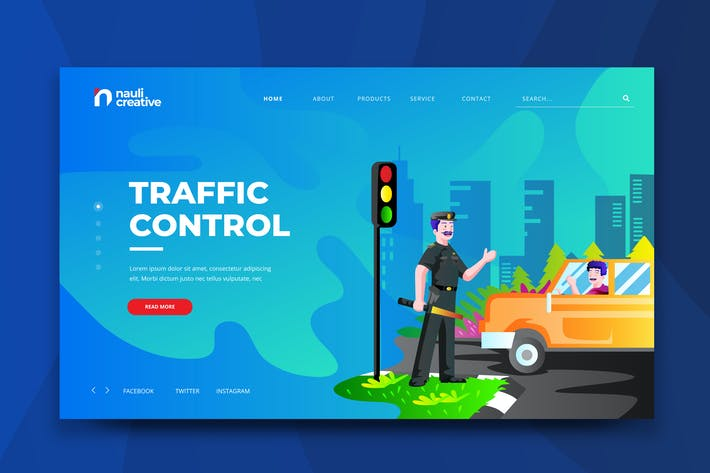 Thumbnail for Traffic Control Web PSD and AI Vector Template
