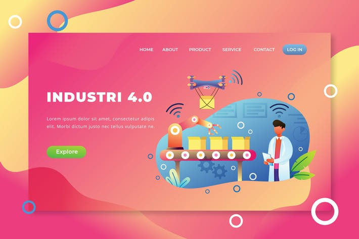 Thumbnail for Industri 4.0 - PSD and AI Vector Landing Page