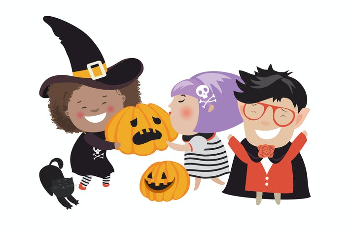 Thumbnail for Children trick or treating in Halloween costume.