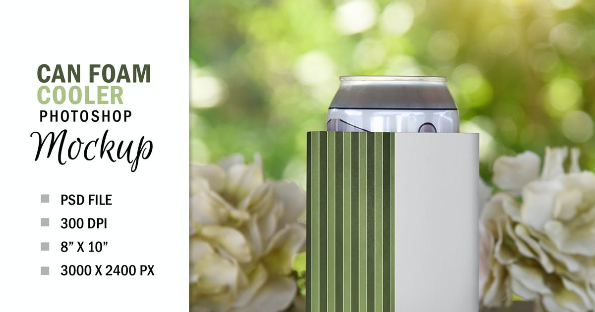 Download Spring Can Soda Beer Foam Cooler Mockup PSD by Haywiremedia