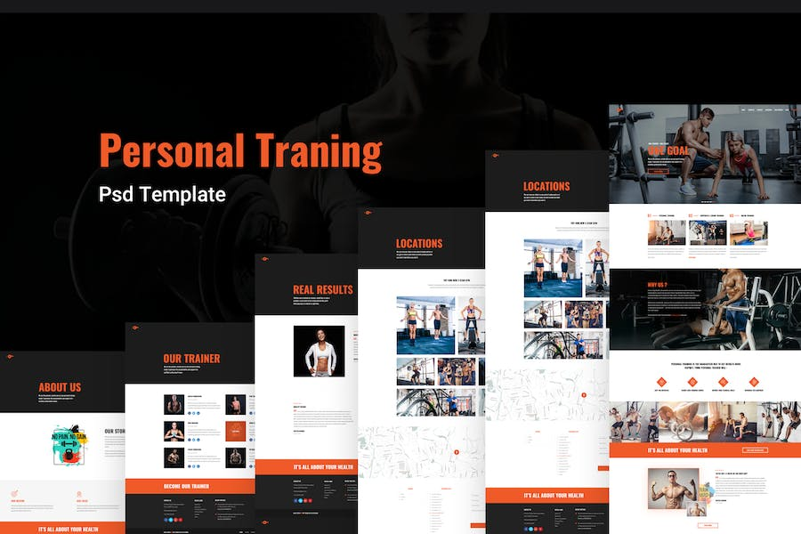 Personal Trainer - Fitness, Gym Psd Template