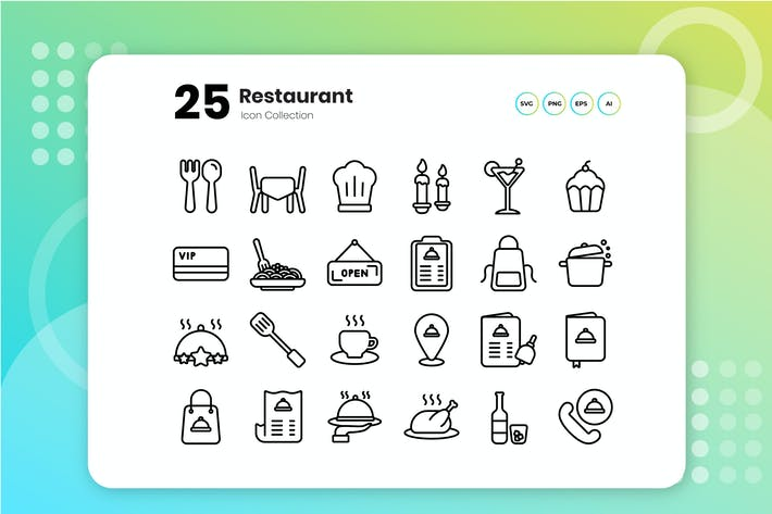 Thumbnail for 25 Restaurant Outline Icon Set