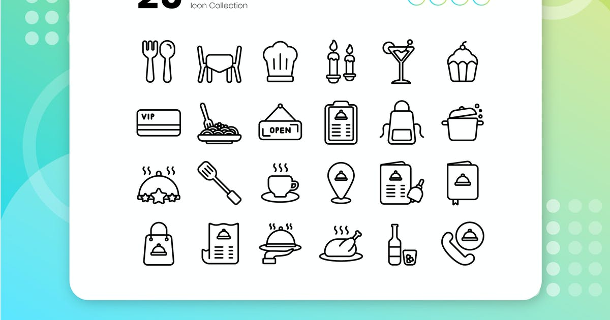 Download 25 Restaurant Outline Icon Set by vectorclans