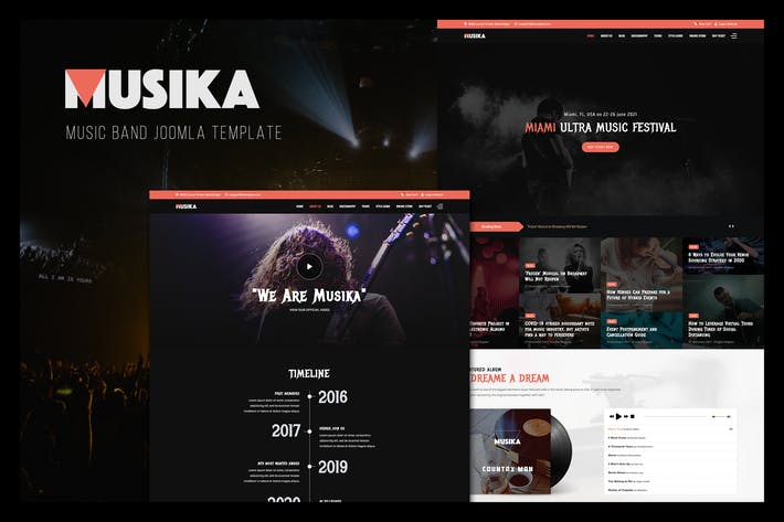 Thumbnail for Musika - Music Festival & Band Joomla Template