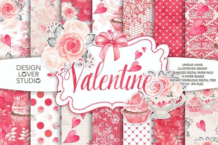 Thumbnail for Watercolor Sweet Valentine digital paper pack