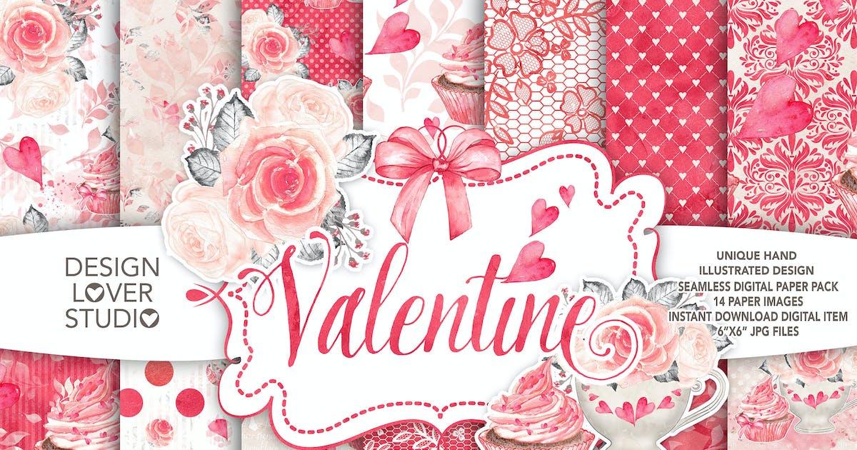 Download Watercolor Sweet Valentine digital paper pack by designloverstudio