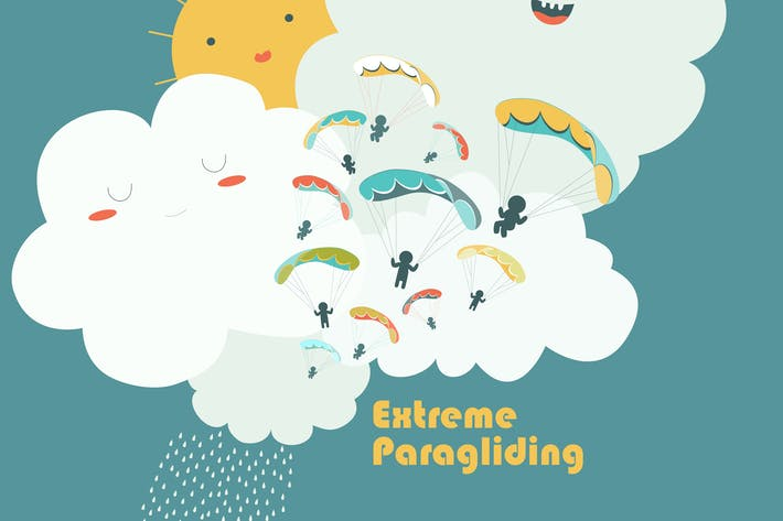 Paragliders on sky with cute clouds. Vector
