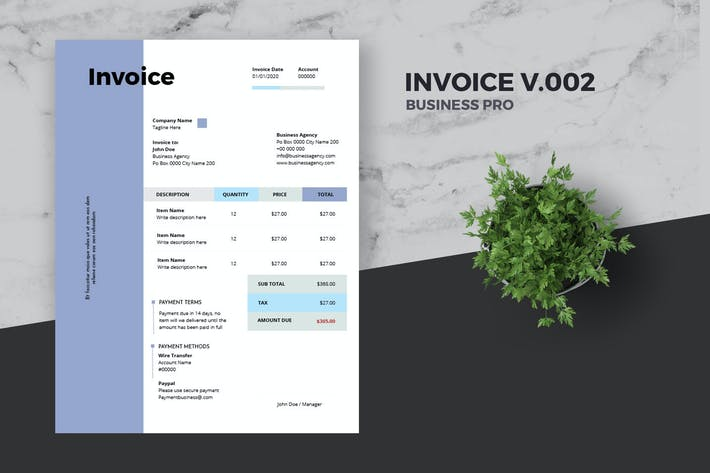 Thumbnail for Clean Invoice Template Pro v.002