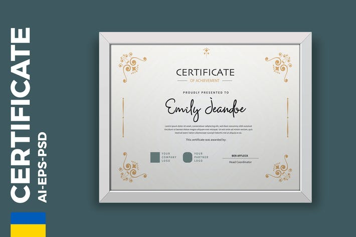 Thumbnail for Vintage Gold Certificate / Diploma Template