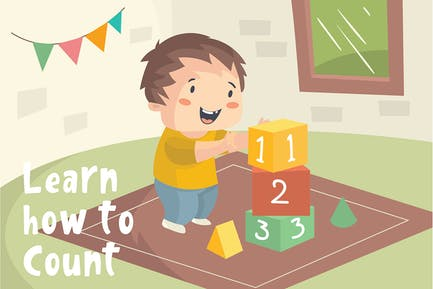 Kid Counting - Vector Illustration