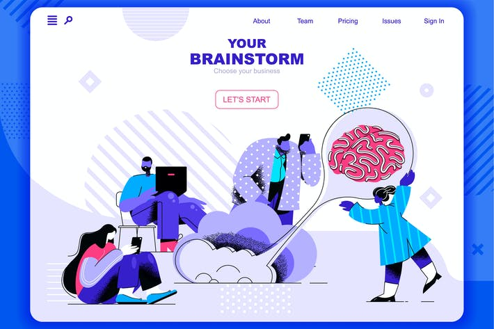 Thumbnail for Brainstorming Flat Concept Landing Page Header