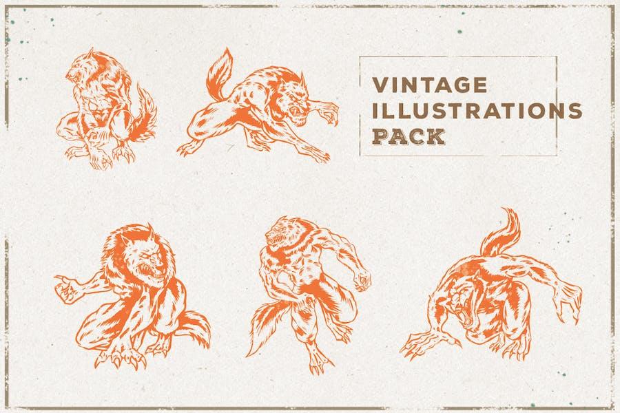 Vintage Warewolf Illustration Pack