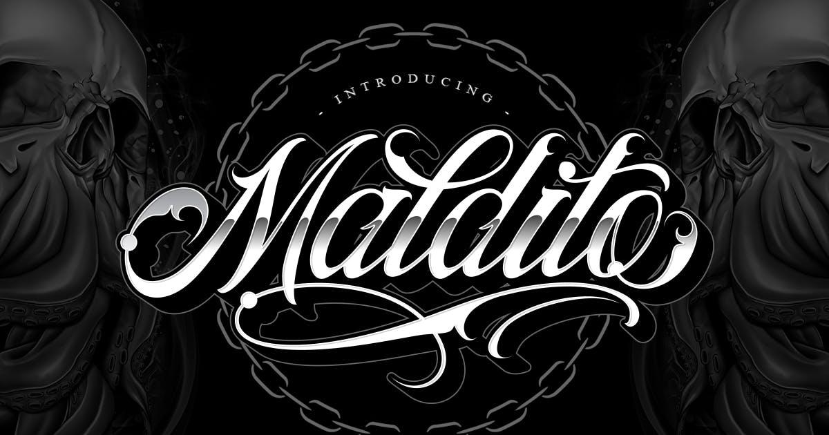 Download Maldito Font | Tattoo Style by Muntab_Art