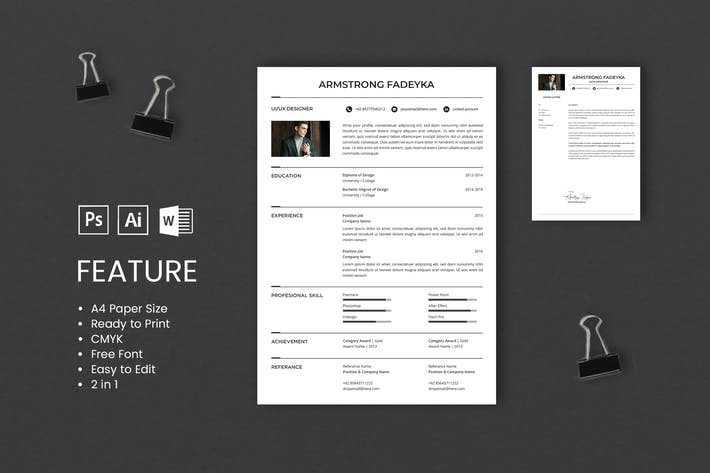 Thumbnail for Professional CV And Resume Template Fadeyka