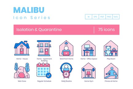 75 Isolation & Quarantine Line Icons