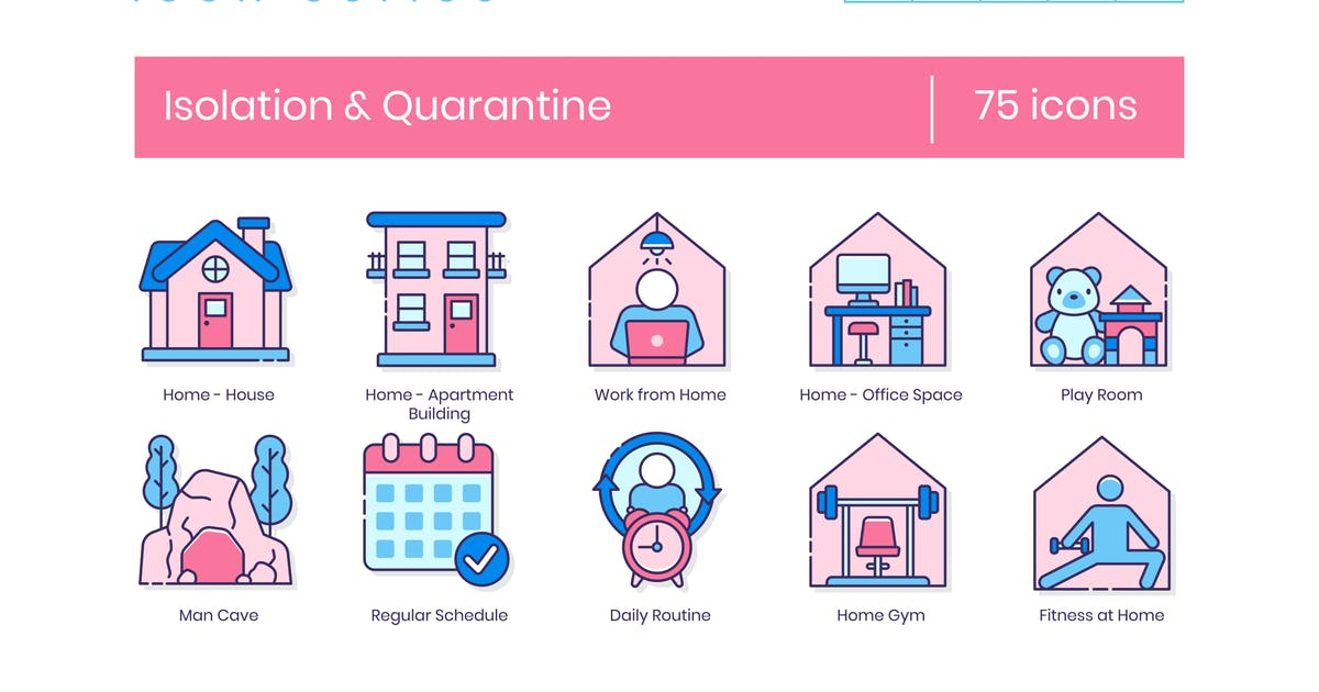 Download 75 Isolation & Quarantine Line Icons by Krafted