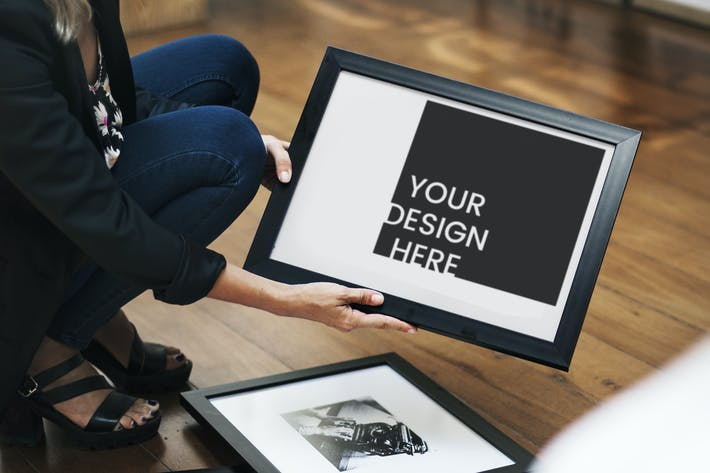 Thumbnail for Woman holding an image frame Mockup