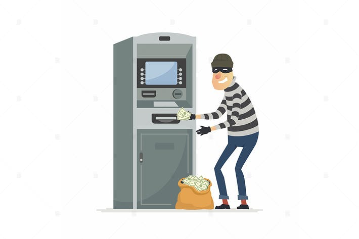 Thumbnail for Thief stealing money from ATM- vector illustration
