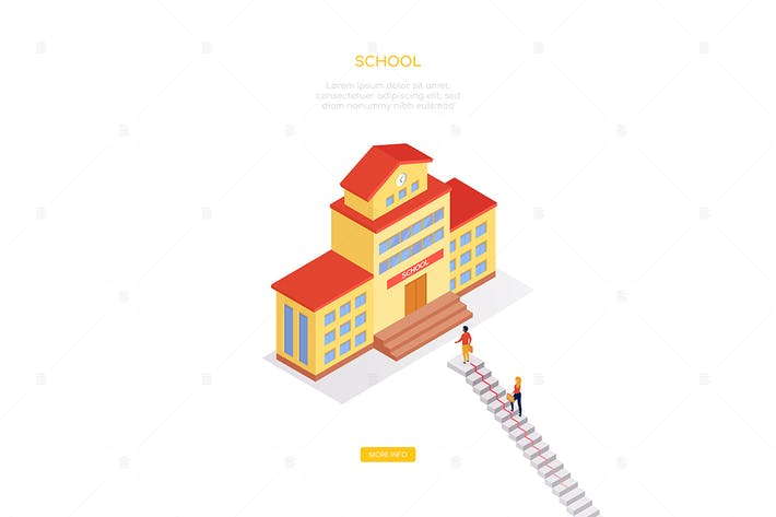 Thumbnail for School concept - modern isometric web banner