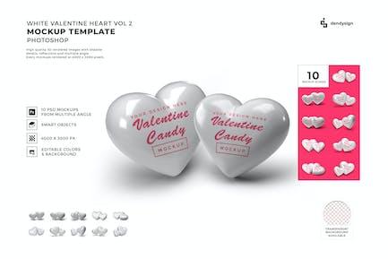 White Heart Symbol Mockup Template Set