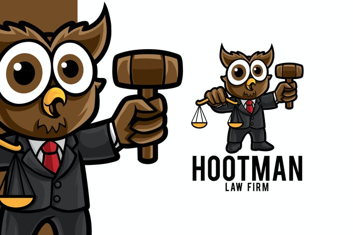 Thumbnail for Owl Lawyer Firm Logo Mascot Template