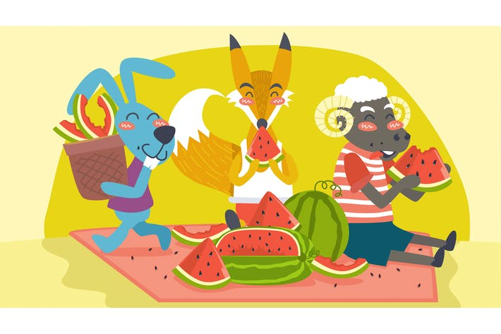 Thumbnail for Animals Eating Fruit Together