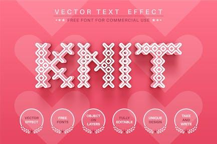 Corazón tejido - efecto texto editable, estilo de fuente