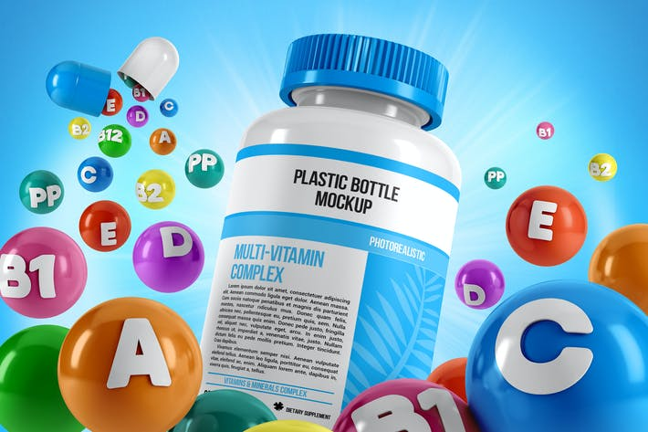 Thumbnail for Plastic Pill Bottle With Colorful Vitamins Mockup