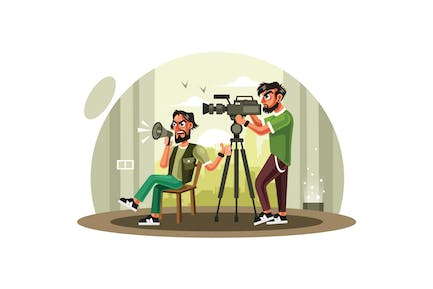 Film Director and Cameraman in Action