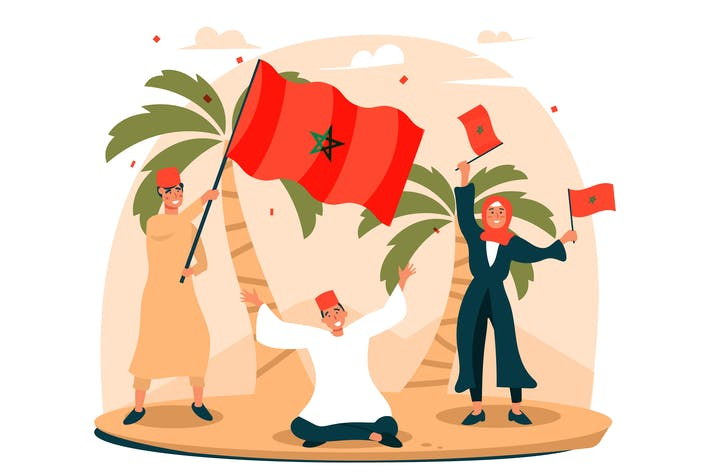 Thumbnail for Morocco's National Day - Flat Illustration