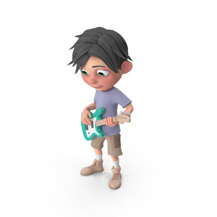 Cartoon Boy Jack Playing Guitar