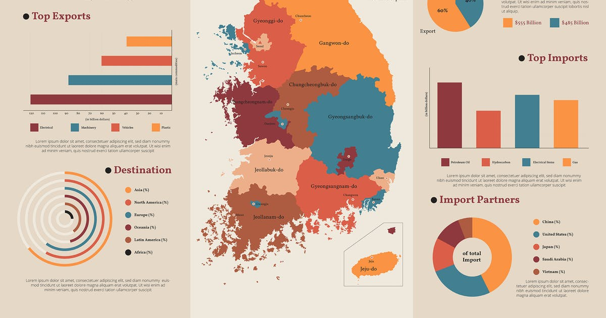 Download South Korea Map - Geographic infographic templates by SlideFactory