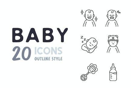 Elemente 20 Baby Gliederung Icon-Set