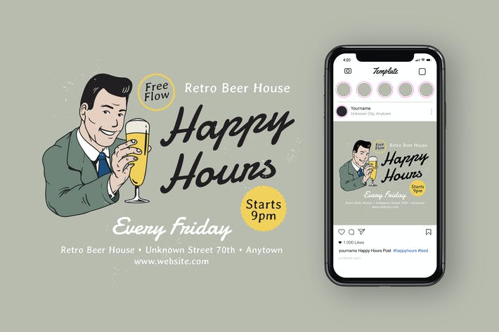 Happy Hours Instagram Feed + Flyer