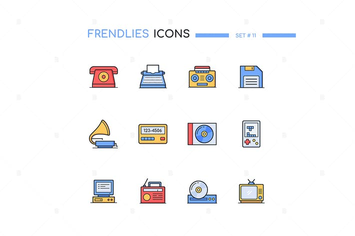 Retro Technologies - Line Design Style Icons Set