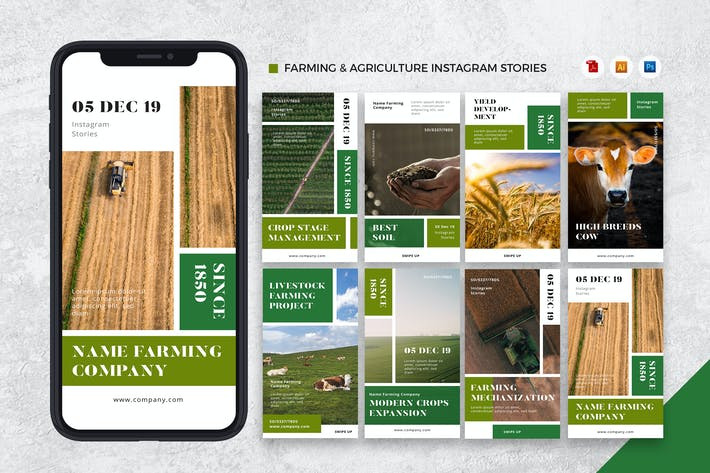 Thumbnail for Сельское хозяйство и сельское хозяйство Instagram Истории AI и PSD