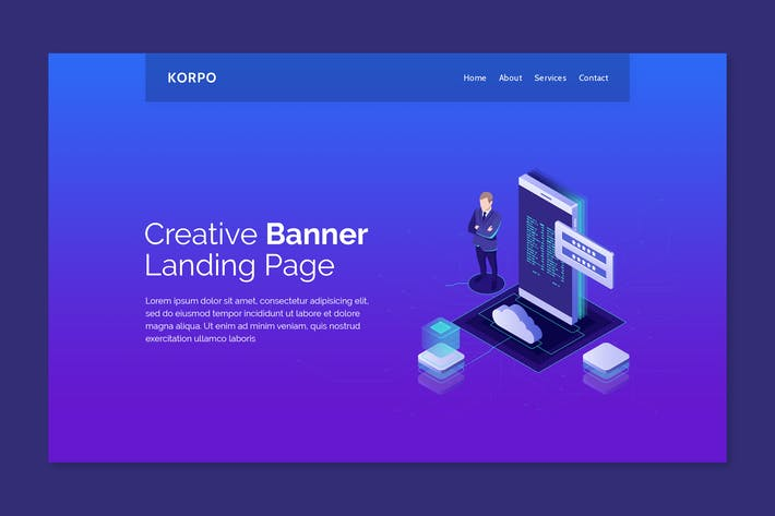 Thumbnail for Kopro - Hero Banner Landing Page Template