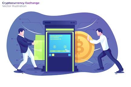 Cryptocurrency Exchange - Vector Illustration