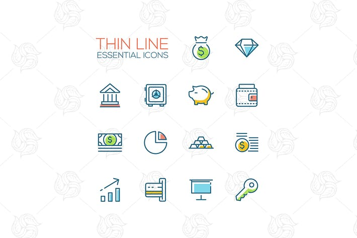 Thumbnail for Business, Finance, Symbols - thick line icons