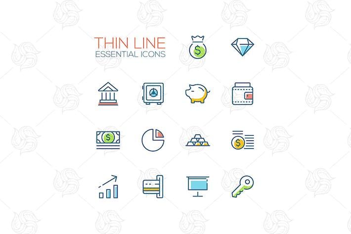 Cover Image For Business, Finance, Symbols - thick line icons