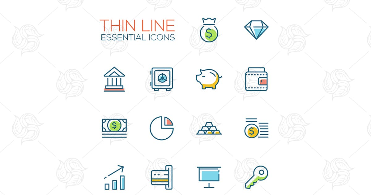Download Business, Finance, Symbols - thick line icons by BoykoPictures