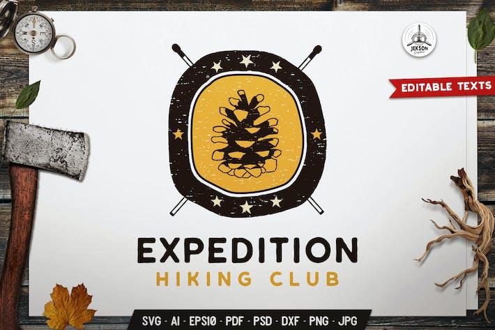 Thumbnail for Expedition Emblem Hiking Badge SVG. Travel Label
