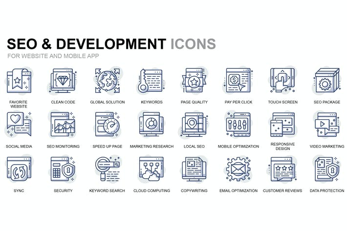 Cover Image For Seo and Development Thin Line Icons