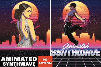 Animated 80's Synthwave Poster - Photoshop Action