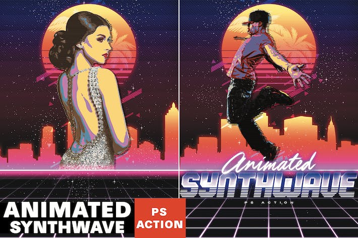 Thumbnail for Animated 80's Synthwave Poster - Photoshop Action