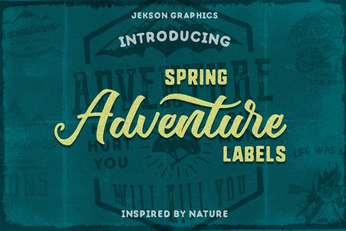 Thumbnail for Spring Adventure Motivational Labels / Logo Brand