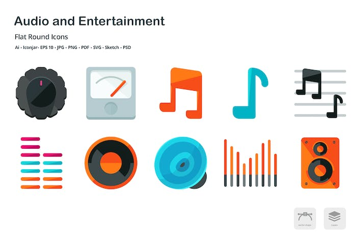Thumbnail for Audio and Entertainment Flat Round Icons