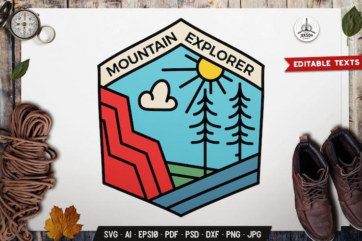 Thumbnail for Mountain Explorer Line Art Emblem Modern Logo SVG