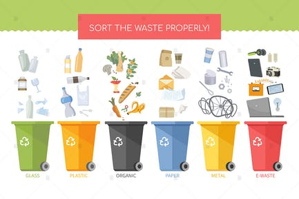 Sort the waste properly - flat design style poster
