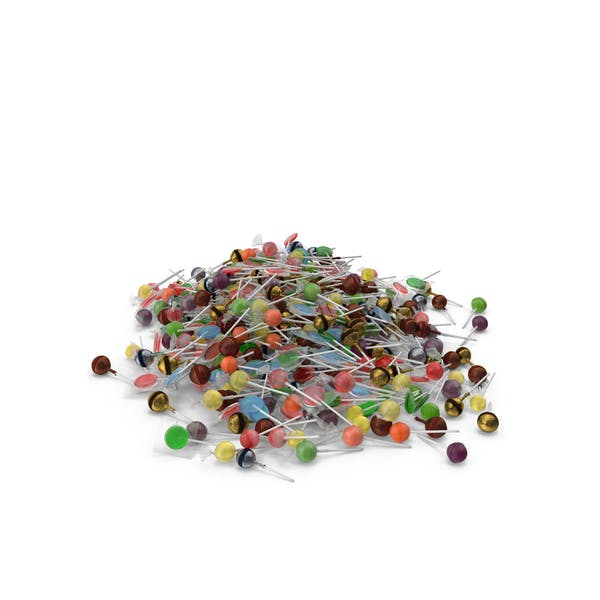 Large Pile of Mixed Lollipops